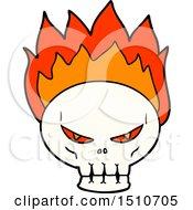 Poster, Art Print Of Cartoon Flaming Skull