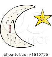 Happy Cartoon Moon And Star