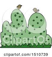 Cartoon Hedge With Birds