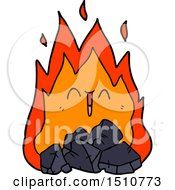 Cartoon Blazing Coal Fire