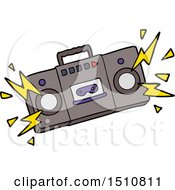 Retro Cartoon Tape Cassette Player Blasting Out Old Rock Tunes