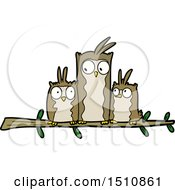 Owl Family Cartoon by lineartestpilot