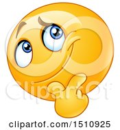 Poster, Art Print Of Pondering Yellow Emoji Smiley