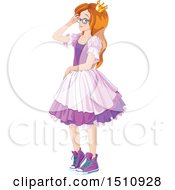 Clipart Of A Modern Day Princess In A Purple Dress And Sneakers Royalty Free Vector Illustration