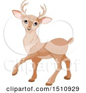 Clipart Of A Cute Walking Deer Royalty Free Vector Illustration
