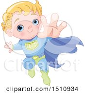 Clipart Of A Blue Eyed Blond Haired Super Baby Boy Flying Royalty Free Vector Illustration