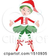 Clipart Of A Welcoming Christmas Fairy Royalty Free Vector Illustration