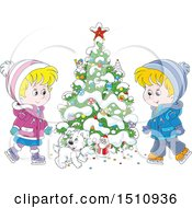 Clipart Of A Cartoon Dog And Children Ice Skating By A Flocked Christmas Tree With A Tiny Santa Royalty Free Vector Illustration