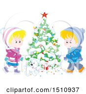 Clipart Of A Puppy Dog And Children Ice Skating By A Flocked Christmas Tree With A Tiny Santa Royalty Free Vector Illustration
