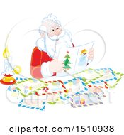 Clipart Of A Christmas Santa Claus Reading Letters Royalty Free Vector Illustration