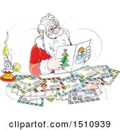 Clipart Of A Cartoon Santa Claus Reading Christmas Letters Royalty Free Vector Illustration