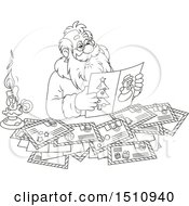 Clipart Of A Cartoon Black And White Santa Claus Reading Letters Royalty Free Vector Illustration