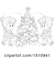 Clipart Of A Black And White Puppy And Children Ice Skating By A Flocked Christmas Tree With A Tiny Santa Royalty Free Vector Illustration