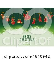 Clipart Of A Merry Christmas And Happy New Year Greeting With Suspended Ornaments Over Green Royalty Free Vector Illustration