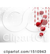 Poster, Art Print Of Snowy Background With Suspended 3d Red Christmas Ornaments