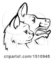 Clipart Of Black And White Profiled Dog And Cat Faces Royalty Free Vector Illustration