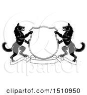 Clipart Of A Black And White Alsatian Dog Coat Of Arms Shield With A Collar Royalty Free Vector Illustration