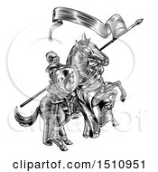 Clipart Of A Black And White Etched Or Woodcut Medieval Knight On A Horse Holding A Flag And Shield Royalty Free Vector Illustration