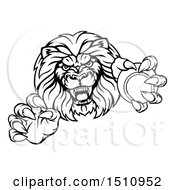 Black And White Tough Clawed Male Lion Monster Mascot Holding A Tennis Ball