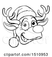 Black And White Happy Reindeer Face Wearing A Christmas Santa Hat