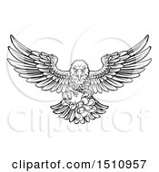 Clipart Of A Black And White Swooping American Bald Eagle With A Video Game Controller In Its Claws Royalty Free Vector Illustration by AtStockIllustration