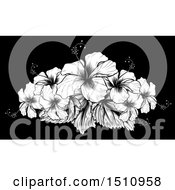 Clipart Of A Woodcut Hibiscus Flower Design On Black Royalty Free Vector Illustration by AtStockIllustration
