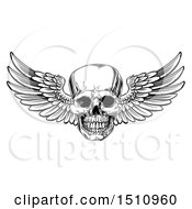 Clipart Of A Black And White Winged Human Skull Royalty Free Vector Illustration by AtStockIllustration