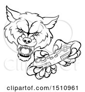 Clipart Of A Black And White Wolf Mascot Holding A Video Game Controller Royalty Free Vector Illustration by AtStockIllustration