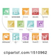 White Food Allergy Icons Over Colored Square Tiles With Text
