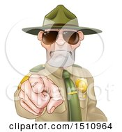 Clipart Of A Tough White Male Drill Sergeant Pointing Outwards And Wearing Sunglasses Royalty Free Vector Illustration by AtStockIllustration