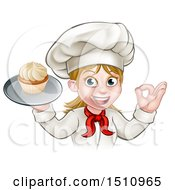Happy White Female Chef Gesturing Ok And Holding A Cupcake On A Tray