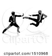 Clipart Of Silhouetted Business Men Kung Fu Fighting Royalty Free Vector Illustration