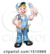 Poster, Art Print Of Full Length White Male Plumber Holding An Adjustable Wrench And Giving A Thumb Up