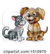 Poster, Art Print Of Happy Puppy Dog And Cat Sitting
