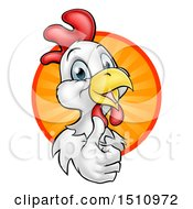 Happy White Chicken Or Rooster Giving A Thumb Up And Emerging From A Circle Of Sun Rays