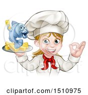 Poster, Art Print Of Cartoon Happy White Female Chef Gesturing Perfect And Holding A Fish And Chips Tray