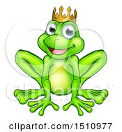 Clipart Of A Cartoon Happy Smiling Green Frog Prince Royalty Free Vector Illustration by AtStockIllustration