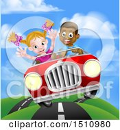 Clipart Of A Happy Black Boy Driving A Red Convertible Car And A White Girl Holding Her Arms Up In The Passenger Seat As They Catch Air Royalty Free Vector Illustration by AtStockIllustration