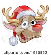Happy Red Nosed Reindeer Face Wearing A Christmas Santa Hat