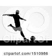 Clipart Of A Black Silhouetted Male Soccer Player Over Gray Royalty Free Vector Illustration