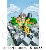 Clipart Of A Pop Art Comic Male Super Hero Flying Forward Over A City Royalty Free Vector Illustration