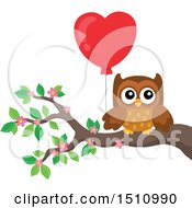 Clipart Of A Brown Valentine Owl Holding A Heart Balloon On A Branch Royalty Free Vector Illustration