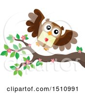 Valentine Owl Flying With A Love Letter