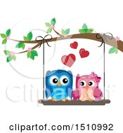Clipart Of A Cute Owl Couple On A Swing Royalty Free Vector Illustration