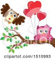 Clipart Of A Pink Owl Holding Heart Balloons And Receiving A Valentine Royalty Free Vector Illustration
