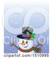 Clipart Of A Happy Snowman In The Snow Royalty Free Vector Illustration by visekart
