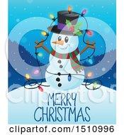 Clipart Of A Merry Christmas Greeting And A Snowman With A Strand Of Colorful Lights Royalty Free Vector Illustration by visekart