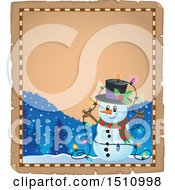 Clipart Of A Parchment Page And Border Of A Happy Snowman With A Strand Of Colorful Christmas Lights Royalty Free Vector Illustration by visekart