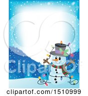 Clipart Of A Border Of A Happy Snowman With A Strand Of Colorful Christmas Lights Royalty Free Vector Illustration by visekart