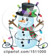 Clipart Of A Happy Snowman With A Strand Of Colorful Christmas Lights Royalty Free Vector Illustration